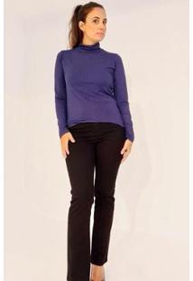 Blusa Gola Alta Manga Longa Ervadoce Feminina - Feminino-Azul Escuro