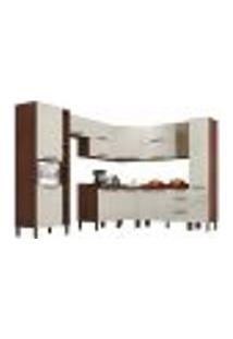 Cozinha Modulada Completa 12 Peças Viv Concept C11 Off White/Nogueira - Kit´S Paraná