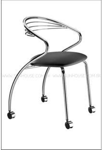 Cadeira Angola Cromada Com Rodizios Corino Preto