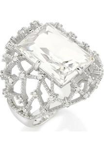 Anel Rommanel Aro Largo Detalhes Geométricos Vazados Com Zircônias E Cristal - Feminino-Prata