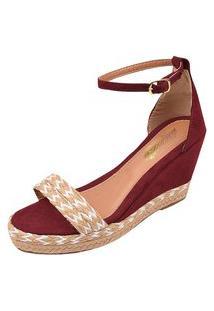 Sandália Uzze Sapatos Anabela Confort Faixa Vermelha