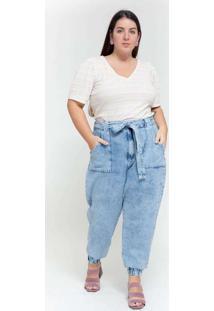 Calça Almaria Plus Size Tal Qual Jeans Baggy Azul