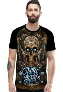 Camiseta Stompy Raglan Modelo 78 Masculina - Masculino-Preto