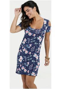 Vestido Feminino Estampa Floral Open Shoulder Anabela