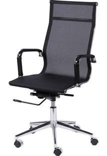 Cadeira De Escritorio Eames Esteirinha Alta Tela Mesh Preta