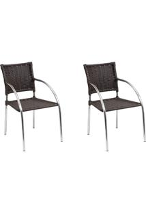 Kit 2 Cadeiras De Alumínio Berna C151 Marrom - Alegro Móveis