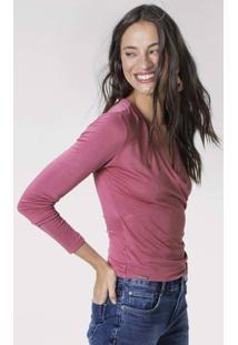 Blusa Em Malha De Viscose Com Detalhe De Transpasse Frontal