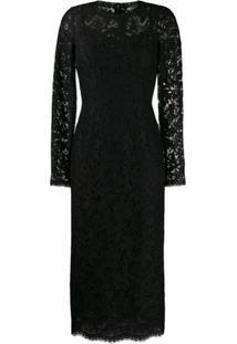 Dolce & Gabbana Vestido Midi Com Renda - Preto