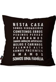 Capa De Almofada Pump Up Decorativa Avulsa Preto Frases Nesta Casa Família 45X45Cm