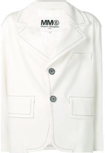 Mm6 Maison Margiela Blazer Jeans Com Contraste De Costura - Branco