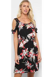 Vestido Curto Pérola Open Shoulder Floral - Feminino-Preto+Vermelho