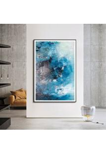 Quadro Com Moldura Chanfrada Abstrato Azul Com Cinza Grande - Multicolorido - Dafiti