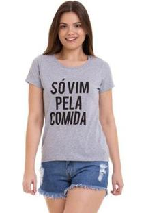 Camiseta Comida Grupo Avenida Feminina - Feminino-Cinza