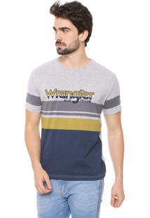 Camiseta Wrangler Listras Cinza/Azul-Marinho