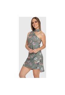 Vestido Carbella Elisa Floral Verde Canelado Com Babados Botões Casual Festa