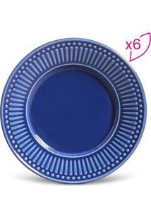 Jogo De Pratos Para Sobremesa Roma- Azul- 6Pçs- Porto Brasil