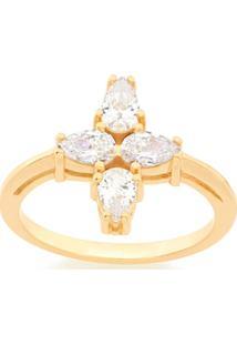 Anel Skinny Ring Estrela De Quatro Pontas Zircônias Rommanel - Feminino-Dourado