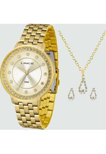 Kit Relógio Feminino Strass Lince Lrgh090L Kv54C1Kx