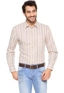 Camisa Perry Ellis Listra Bege