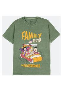 Blusa Alongada Em Algodão Com Estampa Dos Flintstones