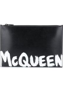 Alexander Mcqueen Logo-Print Clutch Bag - Preto