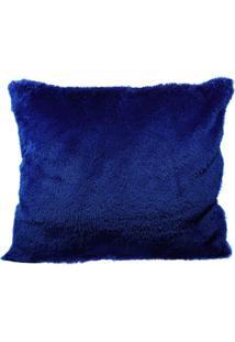 Capa De Almofada Felpuda Pelo Curto Decoração Luxo Azul