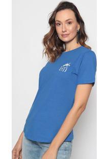 """Camiseta """"Coqueiro"""" - Azul & Branca - Morena Rosamorena Rosa"""