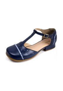 Sandalia Miuzzi Couro Feminina Moderna Dia Dia Casual Fivela Azul 40 Azul