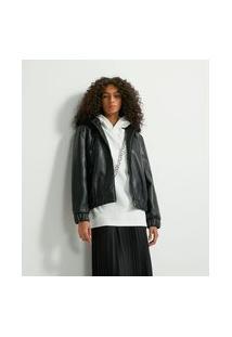 Jaqueta Lisa Com Bolsos E Capuz Com Pelo Removível Em Material Sintético | Blue Steel | Preto | Gg