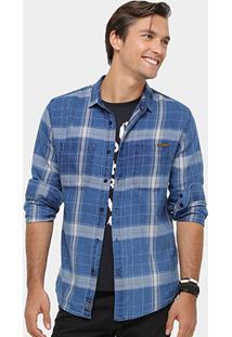 Camisa Xadrez Colcci Ml Indigo Masculina - Masculino-Azul