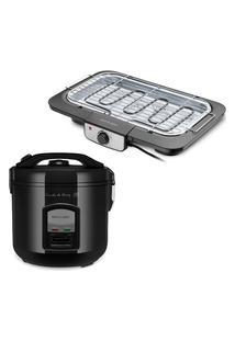 Combo Cozinha - Panela De Arroz 127V-400W 5 Xícaras Led Preta E Churrasqueira Elétrica 127V-1800W Preta Multilaser - Ce131K Preto