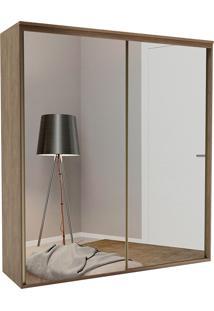 Guarda-Roupa Solteiro 2,07Cm 2 Portas C/ Espelho Liminum Light Fosco-Belmax - Ebano