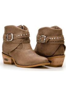 Bota Texana Country Capelli Boots Couro Cano Curto Fivelas Feminina - Feminino-Marrom Claro
