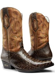 Bota Texana Country Capelli Boots Jacaré Em Couro Com Detalhes Em Costura Masculina - Masculino