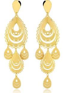 Brinco Toque De Joia Varanasi - Feminino-Dourado