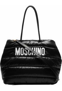 Moschino Bolsa Matelassê Com Logo - Preto