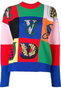 Versace Suéter Com Patchwork - Vermelho