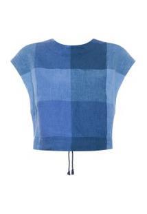 Blusa Feminina Top Linho Vichy - Azul