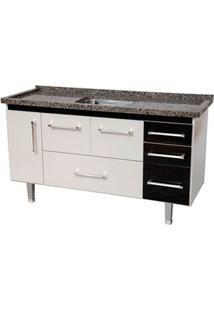 Gabinete De Cozinha New Life 147,3X55Cm Branco E Preto Bonatto