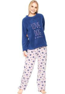 Pijama Any Any Soft Love Dog Azul/Rosa