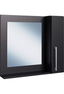 Espelheira Para Banheiro Com Porta Preto 54X60X15Cm