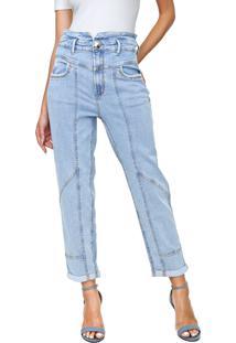 Calça Jeans Lança Perfume Reta Cropped Carrot Azul