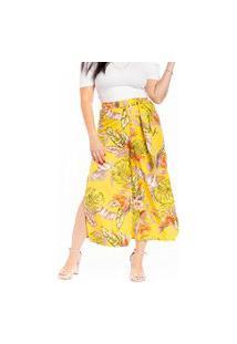 Calça Maranne Pantacourt Com Fenda E Cinto Amarelo