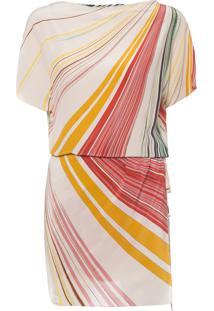 Vestido Seda Tucca Localizado Básico - Bege