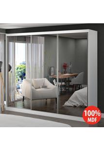 Guarda Roupa 3 Portas Com 3 Espelhos 100% Mdf 1902E3 Branco - Foscarini