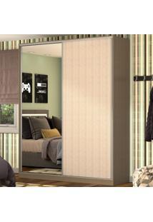 Guarda-Roupa Casal 2 Portas Correr 1 Espelho 100% Mdf Rc2003 Ocre/Noce - Nova Mobile