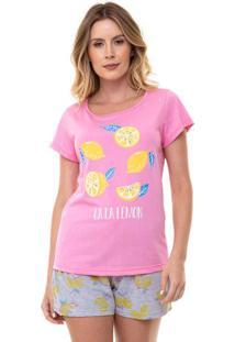 Pijama Short Doll Manga Curta Lemon Feminino Luna Cuore