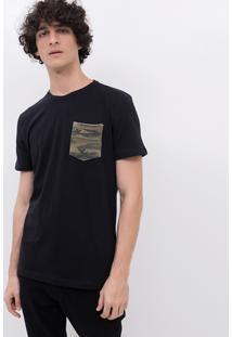 Camiseta Com Bolsinho Camuflado