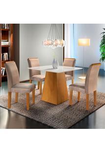 Conjunto De Mesa De Jantar Sevilha Com Vidro E 4 Cadeiras L Suede Off White E Bege