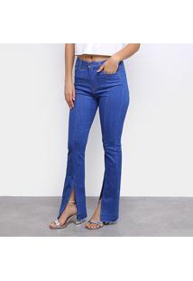 Calça Jeans Flare Carmim Fendas Feminina - Feminino-Azul Escuro